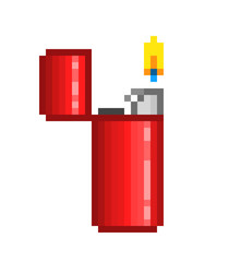 Red open flaming lighter, pixel art icon isolated on white background. Smoking device logo. Old school 8 bit slot machine pictogram. Retro 80s; 90s video game graphics. Symbol of bad habit/addiction.