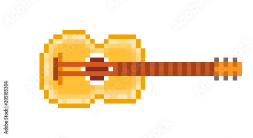 Yellow wood six string acoustic guitar, pixel art icon