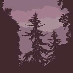Vector silhouette of a forest with coniferous trees, under a purple sky with clouds