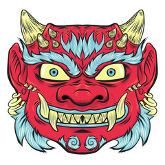 Asian traditional red painted demon mask isoleted on white. Prit for tshirt design or greeting japanese card