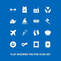 Modern, simple vector icon set on blue background with tv, frame, location, road, team, white, gym, plane, bowl, border, stationery, media, photo, health, dental, food, office, poker, healthy icons