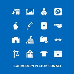 Modern, simple vector icon set on blue background with snow, folder, celebration, butterfly, fitness, equipment, data, fly, clothes, hot, arctic, lady, office, igloo, bug, estate, photo, drink icons
