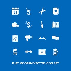 Modern, simple vector icon set on blue background with home, room, furniture, fitness, cut, picture, ink, timetable, up, suzuri, art, talk, image, inkstone, child, entertainment, television, car icons