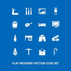 Modern, simple vector icon set on blue background with sport, bathroom, pack, gym, corn, hygiene, fitness, treadmill, container, bath, carrot, knife, desk, box, robot, shower, spoon, adventure icons