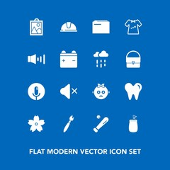 Modern, simple vector icon set on blue background with league, blossom, cherry, cute, baby, sakura, kid, clothes, baseball, helmet, speaker, paper, paint, music, child, spring, mute, safety, hat icons