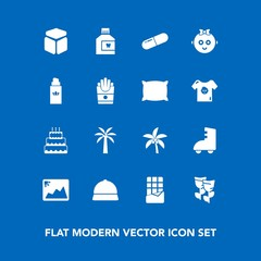 Modern, simple vector icon set on blue background with summer, tropical, beauty, baby, mouthwash, leaf, childhood, flower, child, pie, cake, hygiene, frame, aroma, palm, roller, medical, fashion icons