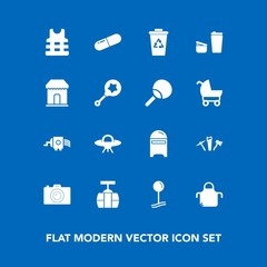 Modern, simple vector icon set on blue background with mail, grater, kitchen, life, cup, pill, ufo, alien, apron, recycling, trash, medicine, drop, mailbox, photographer, cheese, medical, jacket icons