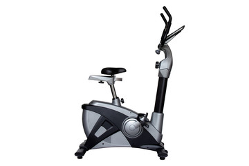 Upright bike for exercise in gym or fitness isolated on white background with clipping path.