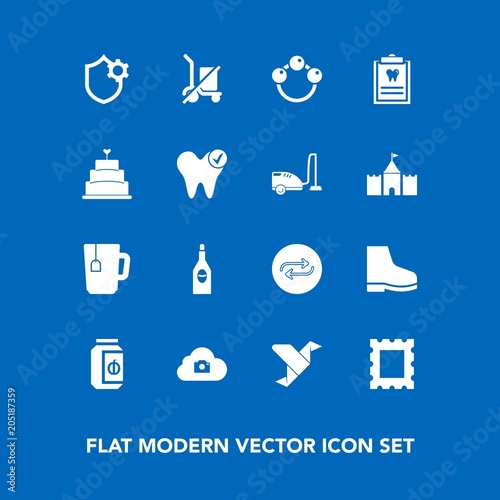 modern simple vector icon set on blue background with child photo