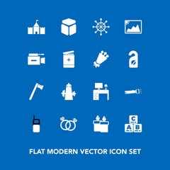 Modern, simple vector icon set on blue background with decoration, ring, wedding, sign, photo, engagement, diamond, frame, kitchen, wrench, mobile, wax, work, wheel, tool, business, helm, fire icons