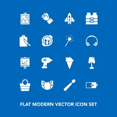 Modern, simple vector icon set on blue background with concept, human, spaceship, picture, kitchen, rocket, lamp, image, space, hand, power, report, dinner, cream, diaper, people, home, energy icons