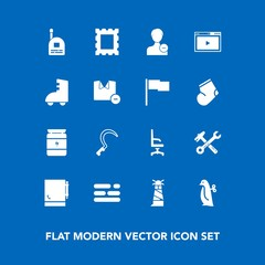 Modern, simple vector icon set on blue background with picture, delete, animal, page, comfortable, nutrition, penguin, baby, agriculture, child, gardening, fun, frame, boy, home, account, photo icons