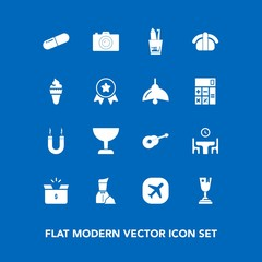Modern, simple vector icon set on blue background with place, photo, glass, technology, japan, airplane, pack, table, toothpaste, salmon, restaurant, plane, energy, waiter, camera, travel, box icons