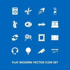 Modern, simple vector icon set on blue background with fly, pendulum, white, travel, passport, toy, cut, plane, parachuting, photo, sweet, bottle, cutlery, lollipop, music, audio, sea, fork, sky icons