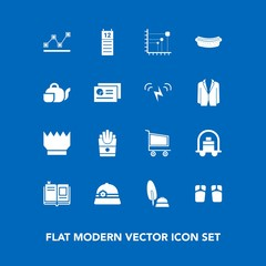 Modern, simple vector icon set on blue background with graph, crown, snack, black, luxury, white, french, service, king, calendar, food, ink, textbook, hotel, trolley, fashion, footwear, chart icons