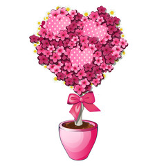 Pink flowers with bow in pot. Bonsai tree in shape of heart. Romantic symbol