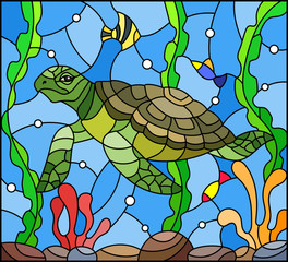 Illustration in stained glass style with sea turtle on the seabed background with algae, fish and stones