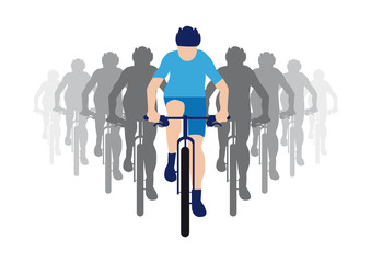 Group of cyclists with team leader in blue racing jersey, cyclist icon