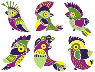 Vector set of cute  parrots. For card, calendar, sticker, baby clothes