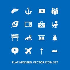 Modern, simple vector icon set on blue background with ball, gun, fish, sign, tree, traffic, industry, weapon, construction, meat, street, alarm, bulldozer, machinery, road, background, nature icons