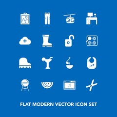 Modern, simple vector icon set on blue background with infant, pruning, barbecue, cloud, musical, rail, table, soup, image, add, meat, food, child, office, meal, watermelon, rattle, blue, music icons