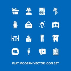 Modern, simple vector icon set on blue background with finance, fashion, child, accounting, pants, care, drink, image, game, picture, people, holiday, chair, plastic, gift, health, background icons