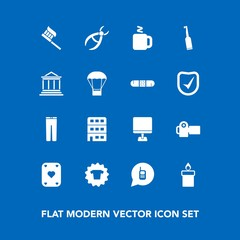 Modern, simple vector icon set on blue background with pants, hygiene, telephone, call, pc, clean, flame, laptop, dentist, care, electric, city, ringing, clothes, clinic, drill, play, internet icons