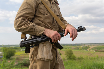 Soldier of the Red Army of the Second World War with a submachine gun