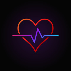 Heart pulse vector colored outline icon or design element