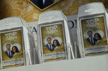 A card game themed on the forthcoming wedding of Britain's Prince Harry and his fiancee Meghan Markle is seen for sale in a shop in Windsor, Britain