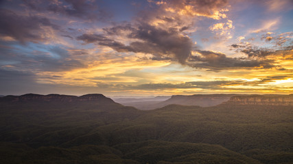 the Blue Mountains Australia at sunset