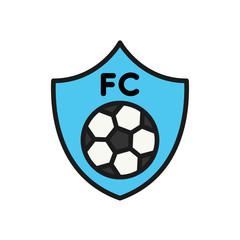 football team club logo icon. simple illustration outline style sport symbol.