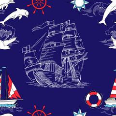 Nautical seamless pattern with sailing vesselsand