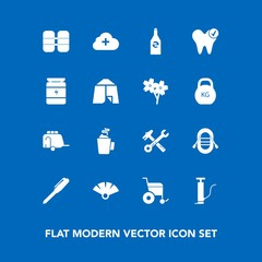 Modern, simple vector icon set on blue background with beverage, white, cylinder, ship, office, pump, oxygen, cup, dental, equipment, pen, sensu, spanner, wrench, van, vehicle, transportation icons