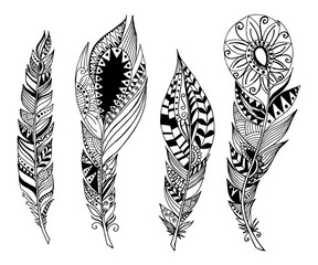 Mandala style feathers. Vector Set collection. Creative bohemian hipster concept for bridal, wedding invitation, card. Isolated on white background.