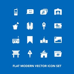 Modern, simple vector icon set on blue background with cell, image, suit, fire, chat, tower, home, music, sandbox, mobile, business, radio, face, photo, shrine, sign, architecture, vintage, play icons