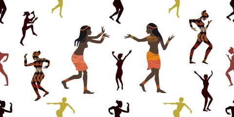 Dancing girls. Tribal art.