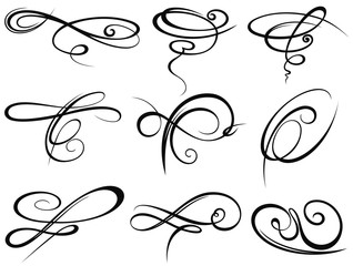 Decorative ornaments, flourish and scroll elements.Tattoo elements