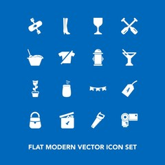 Modern, simple vector icon set on blue background with activity, construction, fashion, play, photo, wine, bear, paddle, chinese, bag, happy, sign, alcohol, water, technology, kayak, music, oar icons