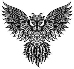 Owl.  Tattoo, poster, print