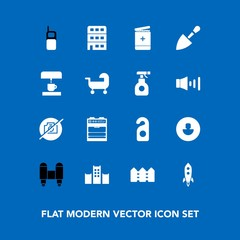 Modern, simple vector icon set on blue background with chemical, fence, photo, rocket, phone, communication, equipment, motel, kitchen, old, privacy, carriage, medical, architecture, space, bed icons