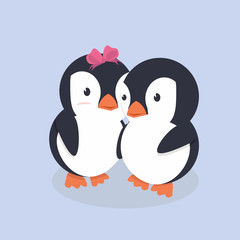 A Cute Happy Penguins Couple