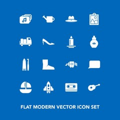 Modern, simple vector icon set on blue background with cassette, toothpaste, musical, technology, cowboy, music, equipment, cooking, plant, can, file, speech, spaceship, boot, guitar, craft, sea icons
