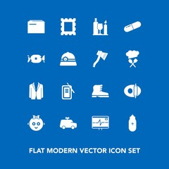 Modern, simple vector icon set on blue background with inkstone, wine, suit, fashion, toy, kid, medicine, leather, alcohol, file, border, glass, kitchen, photo, child, pan, play, japan, cute icons