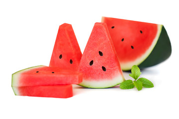Slice and half of watermelon with mint leaf   isolated on a white background, close up. Summer concept. Fresh Watermelon fruit