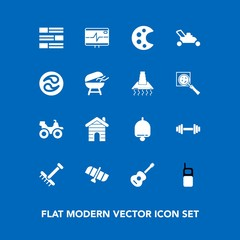 Modern, simple vector icon set on blue background with musical, call, drawing, raking, garden, gardening, fitness, heart, telephone, health, technology, real, palette, bell, alarm, rake, orbit icons