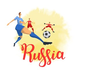 Russia and football. Football players on white background. Colorful poster with lettering. Flat vector illustration. Isolated