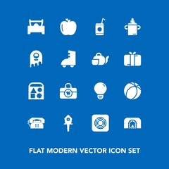 Modern, simple vector icon set on blue background with food, fan, christmas, bird, cold, bottle, fresh, warm, drink, house, nutrition, toy, fruit, home, sport, milk, apple, care, energy, car icons