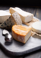 French cheeses plate in assortment, blue cheese, brie, munster, soft goat cheese