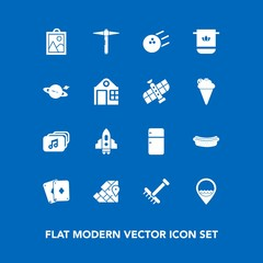 Modern, simple vector icon set on blue background with spaceship, game, world, bowling, dinner, poker, fridge, picture, technology, sport, bathroom, hotdog, travel, refrigerator, food, map, meat icons